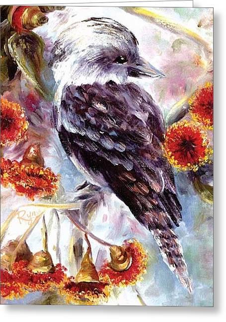 Kookaburra In Red Flowering Gum Greeting Card