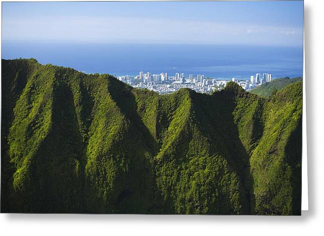 Koolau Mountains And Honolulu Greeting Card by Dana Edmunds - Printscapes
