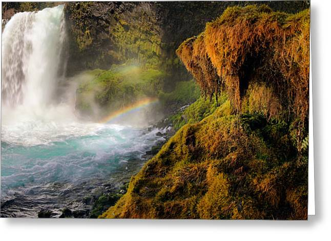 Koosah Falls Panoramic Greeting Card by Leland D Howard