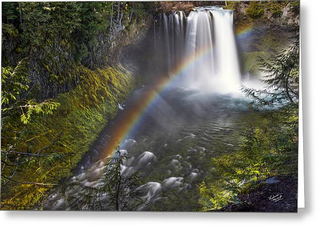 Koosah Falls Rainbow Greeting Card