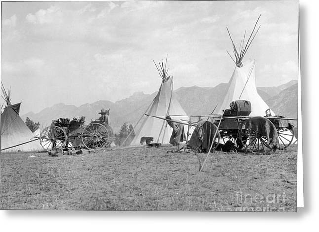 Kootenai First Nations Camp, C.1920-30s Greeting Card by H. Armstrong Roberts/ClassicStock
