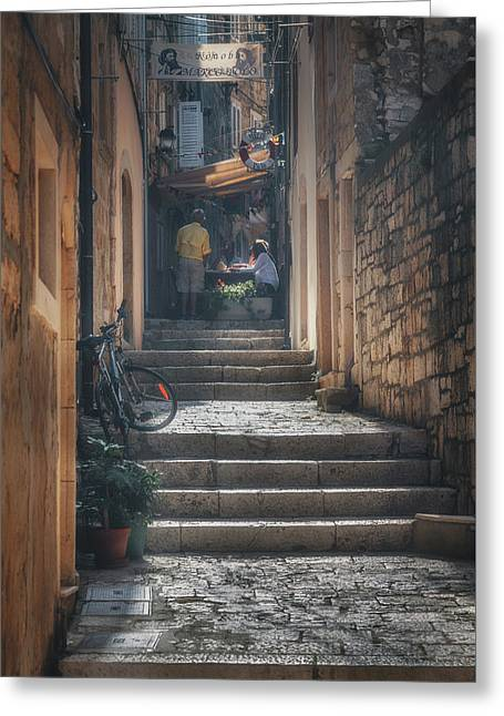Korcula Alley No 5 Greeting Card by Chris Fletcher