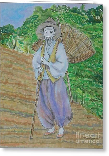 Korean Farmer -- The Original -- Old Asian Man Outdoors Greeting Card by Jayne Somogy