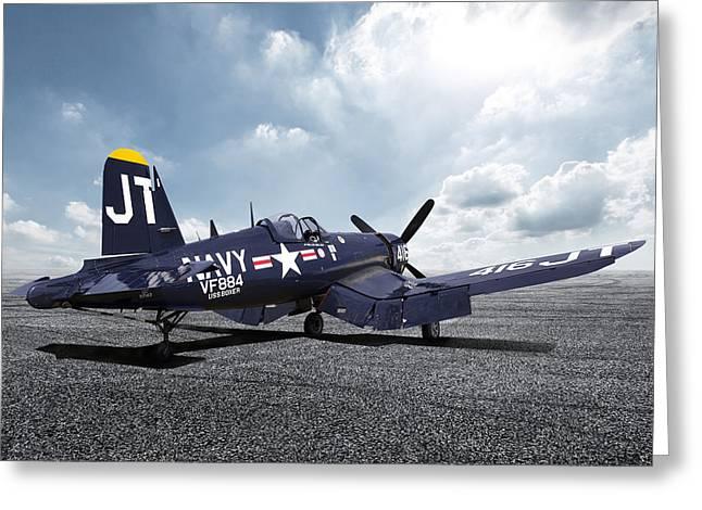 Korean War Hero F4-u Corsair Greeting Card by Peter Chilelli
