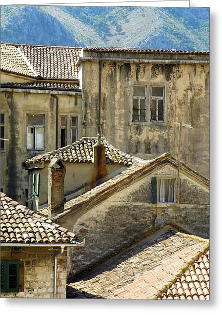 Kotor Rooftops Greeting Card by Elizabeth Fontaine-Barr
