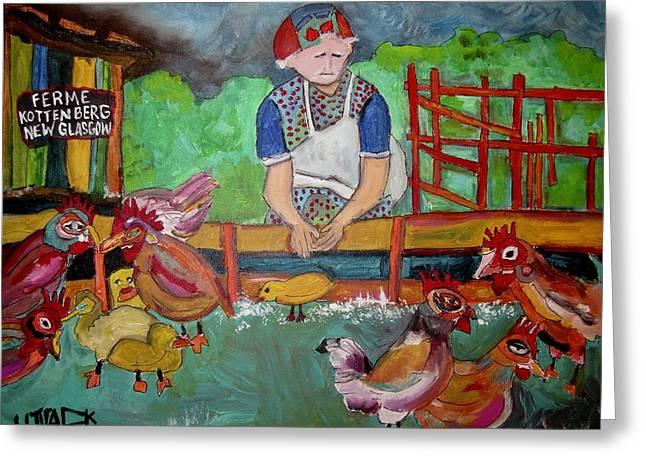 Kottenberg Farm Feeding The Chickens New Glasgow Greeting Card by Michael Litvack