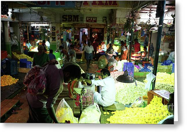 Greeting Card featuring the photograph Koyambedu Flower Market Stalls by Mike Reid
