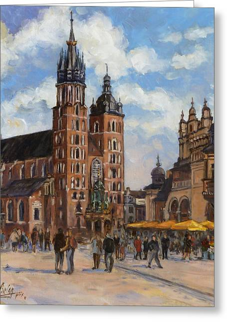 Krakow - Mariacki Church Greeting Card by Irek Szelag