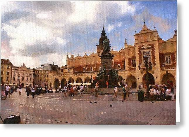 Krakow Main Market Greeting Card by Boguslaw Florjan
