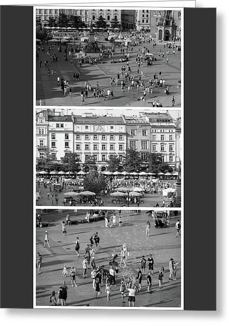 Krakow Poland Main Square Triptych Greeting Card