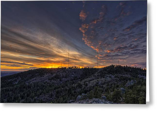 Krell Hill Sunset Greeting Card by Mark Kiver