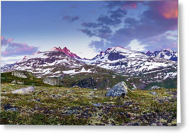 Greeting Card featuring the photograph Crimson Peaks by Dmytro Korol