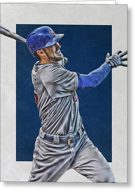 Kris Bryant Chicago Cubs Art 3 Greeting Card by Joe Hamilton