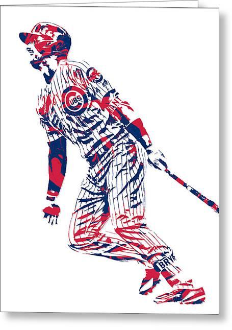 Kris Bryant Chicago Cubs Pixel Art 12 Greeting Card
