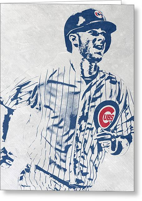 kris bryant CHICAGO CUBS PIXEL ART 2 Greeting Card by Joe Hamilton