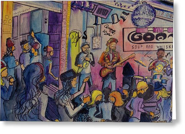 Greeting Card featuring the painting Kris Lager Band At The Goat by David Sockrider