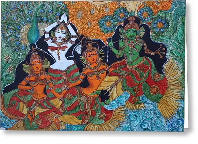 Krishna And Gopika Greeting Card