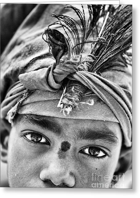 Krishna Boy Greeting Card by Tim Gainey