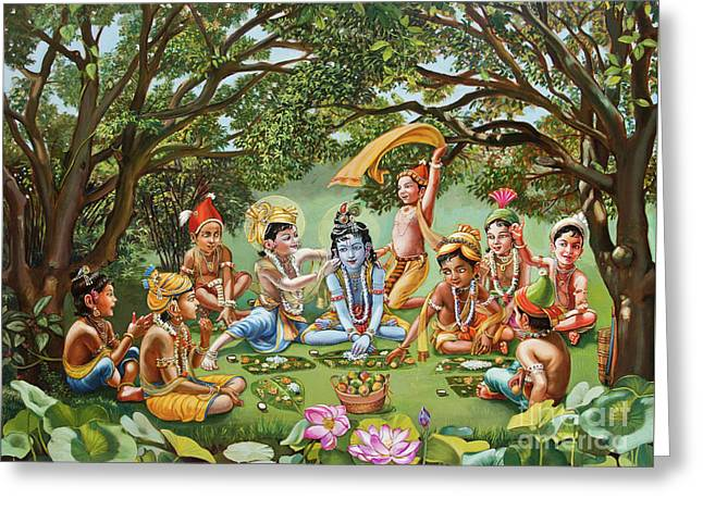 Krishna Eats Lunch With His Friends With No Bordure Greeting Card by Dominique Amendola