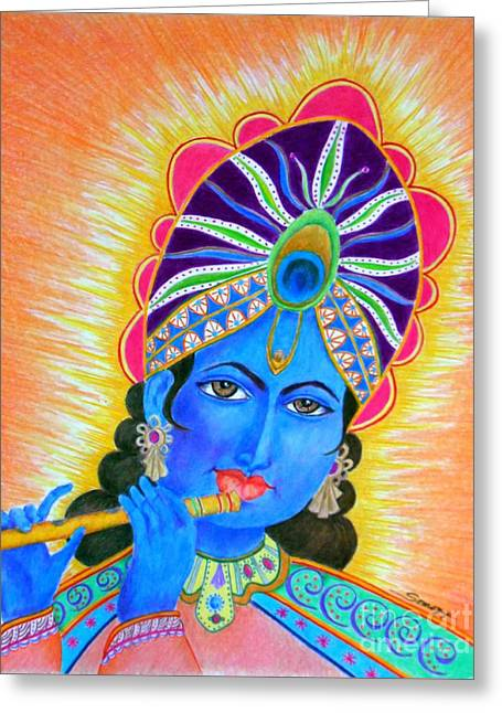 Krishna -- Colorful Portrait Of Hindu God Greeting Card