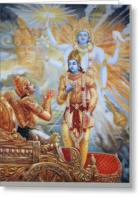 Krishna Reveals His Universal Form To Arjuna Greeting Card by Dominique Amendola