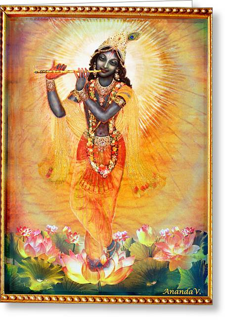 Krishna With The Flute Greeting Card by Ananda Vdovic