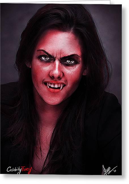 Kristen Stewart Greeting Card by Gene Spino
