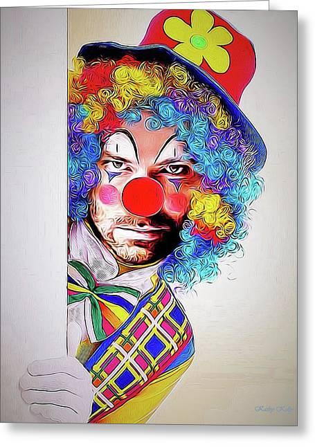 Kristoff The Creepy Clown Greeting Card by Kathy Kelly
