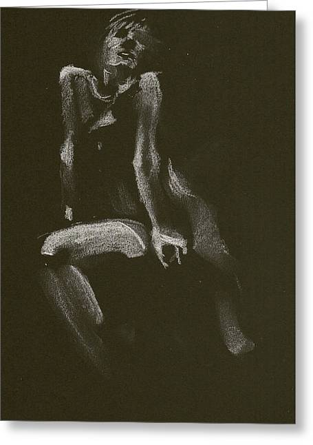 Kroki 2014 10 18_3 Figure Drawing White Chalk Greeting Card
