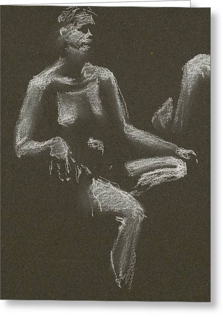 Kroki 2015 04 25 _3 Figure Drawing White Chalk Beskuren Greeting Card