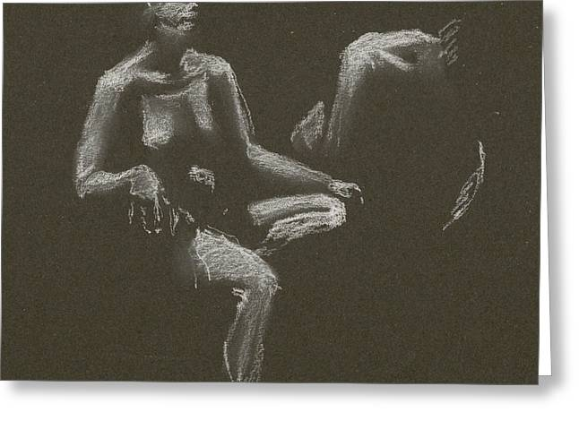 Kroki 2015 04 25 _3 Figure Drawing White Chalk Greeting Card