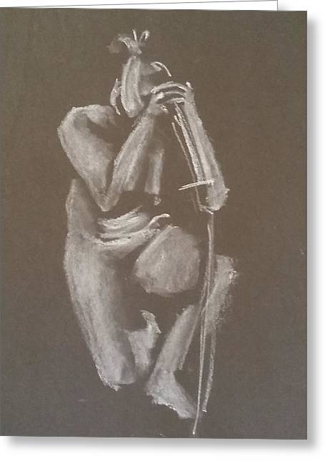 Kroki 2015 06 18_4 Figure Drawing Chinese Sword White Chalk Greeting Card