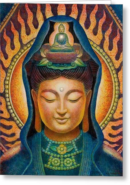 Kuan Yin Flame Greeting Card by Sue Halstenberg