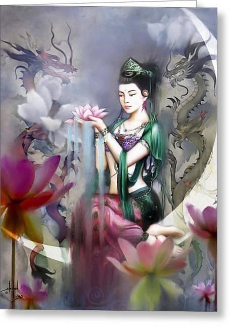 Figures Mixed Media Greeting Cards - Kuan Yin Lotus of Healing Greeting Card by Stephen Lucas