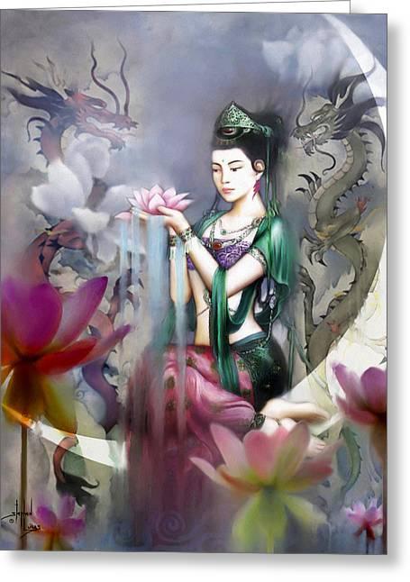 Kuan Yin Lotus Of Healing Greeting Card
