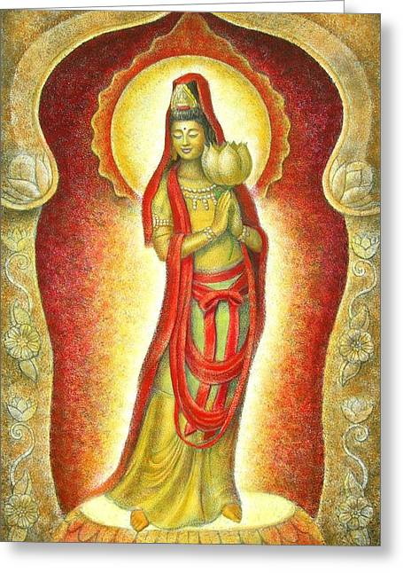 Kuan Greeting Cards - Kuan Yin Lotus Greeting Card by Sue Halstenberg