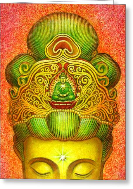 Kuan Yin's Buddha Crown Greeting Card by Sue Halstenberg