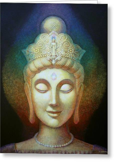 Quan Greeting Cards - Kuan Yins Light Greeting Card by Sue Halstenberg