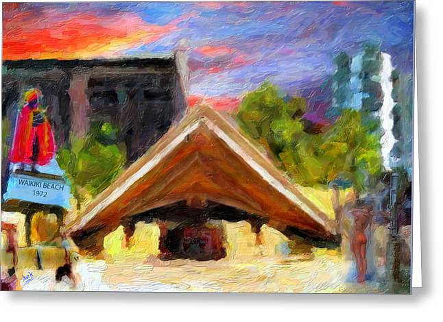 Kuhio Beach 1972 Greeting Card by Patrick J Gallagher