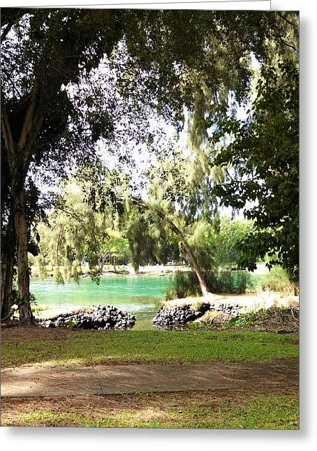 Kuhio Park In Paradise Greeting Card by Mary McDermid