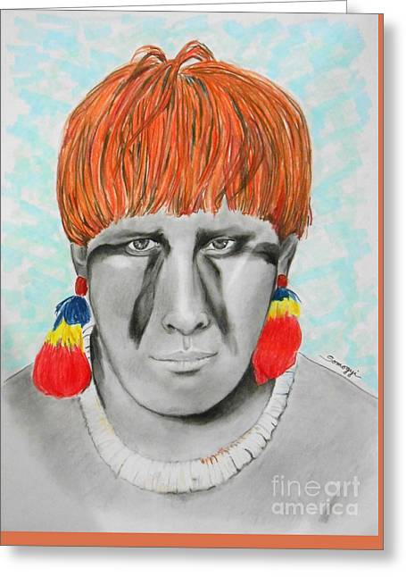 Kuikuro From Brazil -- Portrait Of South American Tribal Man Greeting Card