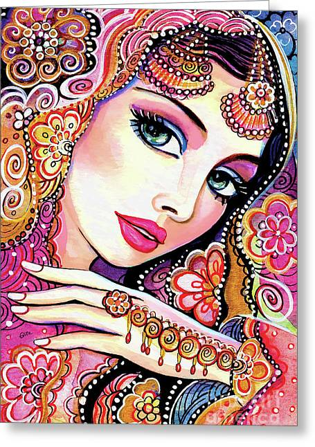 Greeting Card featuring the painting Kumari by Eva Campbell
