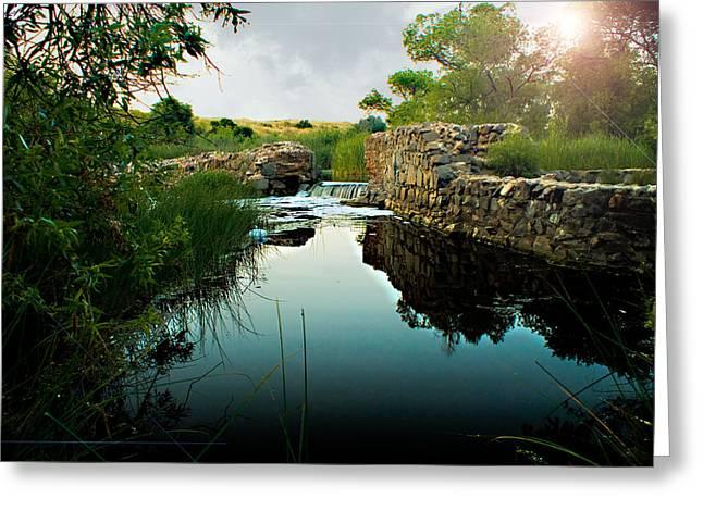 Kumeyaay Dam Greeting Card by Frank Garciarubio