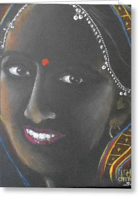Kumkuma -- Close-up Portrait Of Indian Woman Greeting Card