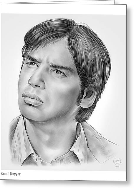 Kunal Nayyar Greeting Card by Greg Joens