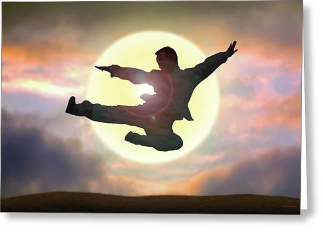Kung Fu Leap Greeting Card