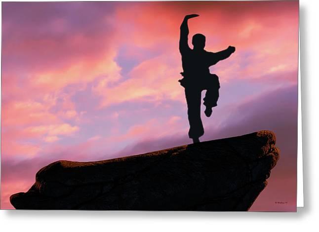 Kung Fu Peak Silhouette Greeting Card
