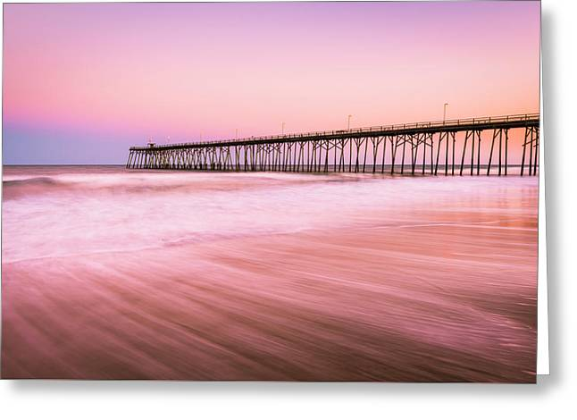 Greeting Card featuring the photograph Kure Beach Fishing Pier At Sunset by Ranjay Mitra