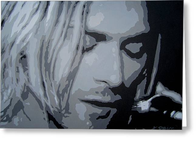 Greeting Card featuring the painting Kurt Cobain by Ashley Price