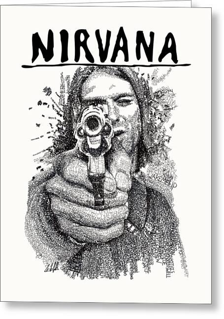 Kurt Cobain Greeting Card by Michael Volpicelli